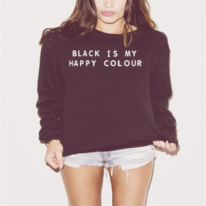 black is my happy color impression femme sweats noir achat vente sweatshirt cdiscount. Black Bedroom Furniture Sets. Home Design Ideas