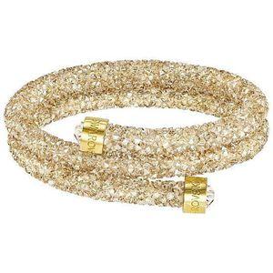 BRACELET , GOURMETTE Bracelet double Jonc Doré Crystaldust Swarovski S