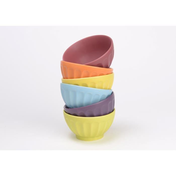 bol mug mazagran lot de 6 bols colors - Vaisselle Colore Pas Cher