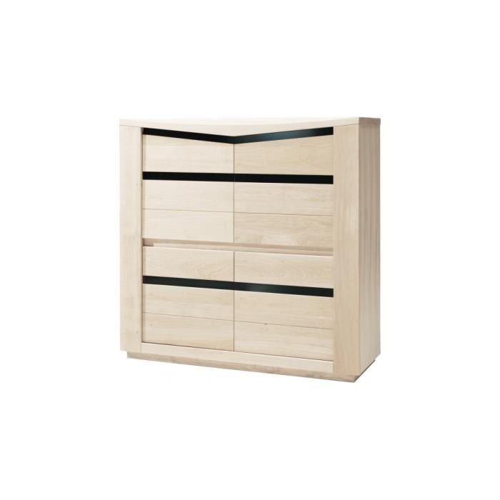 meuble de rangement ch ne blanchi 4 portes d cors verre noir achat vente salle manger. Black Bedroom Furniture Sets. Home Design Ideas