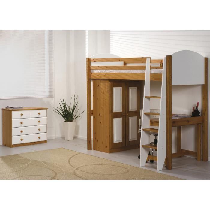 Lit mezzanine armoire commode verona 90 x 190cm for Lit adulte et armoire