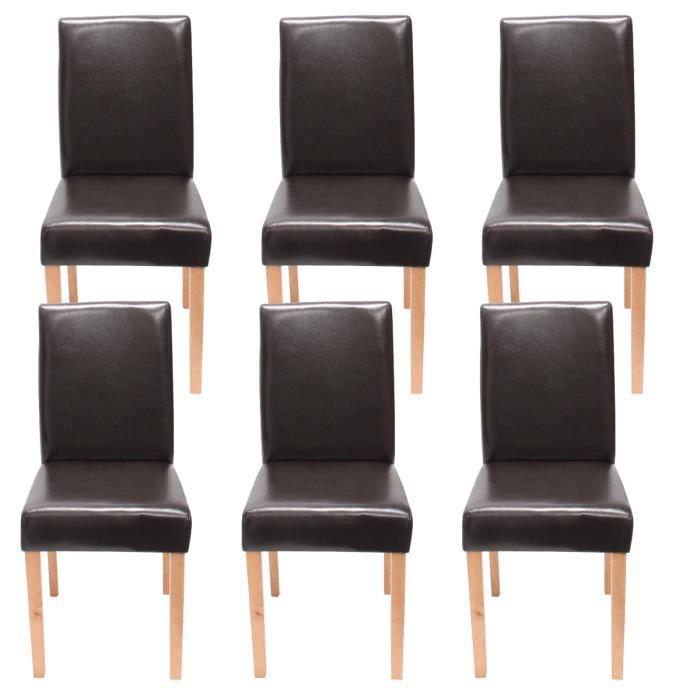 Lot de 6 chaises de s jour littau cuir reconstitu marron for Chaise sejour cuir