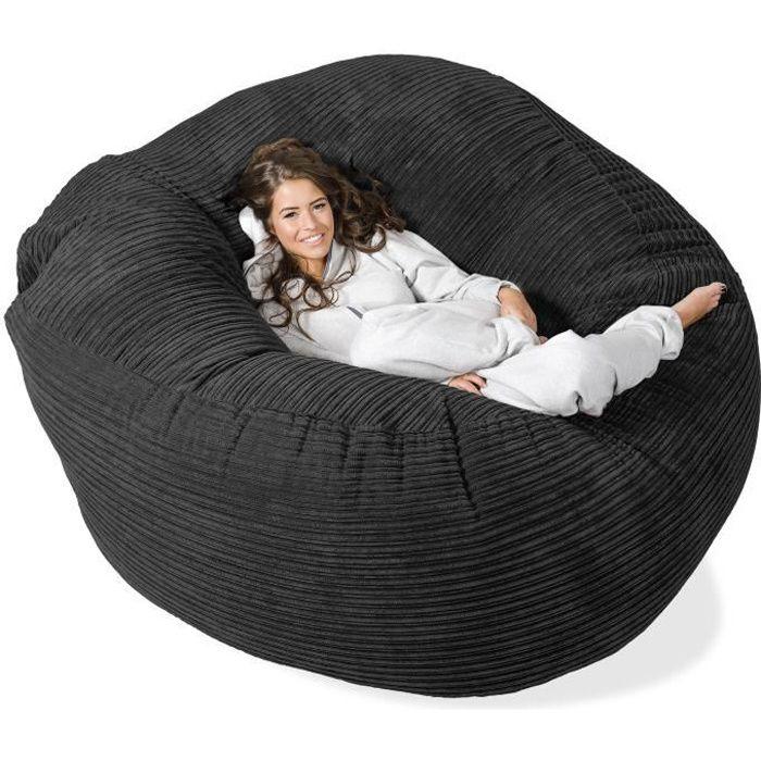 pouf g ant grande mammouth noir achat vente pouf poire soldes cdiscount. Black Bedroom Furniture Sets. Home Design Ideas