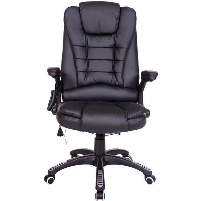 fauteuil de bureau cuir noir massant et chauffant achat vente chaise de bureau noir cdiscount. Black Bedroom Furniture Sets. Home Design Ideas
