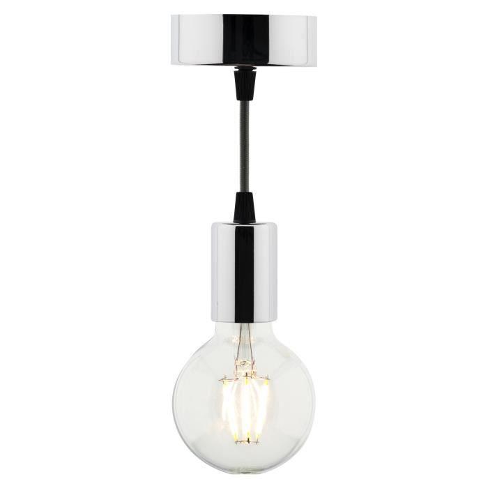 kit de suspension d co m tal chrom avec cordon textile et ampoule led filament globe 6w e27. Black Bedroom Furniture Sets. Home Design Ideas