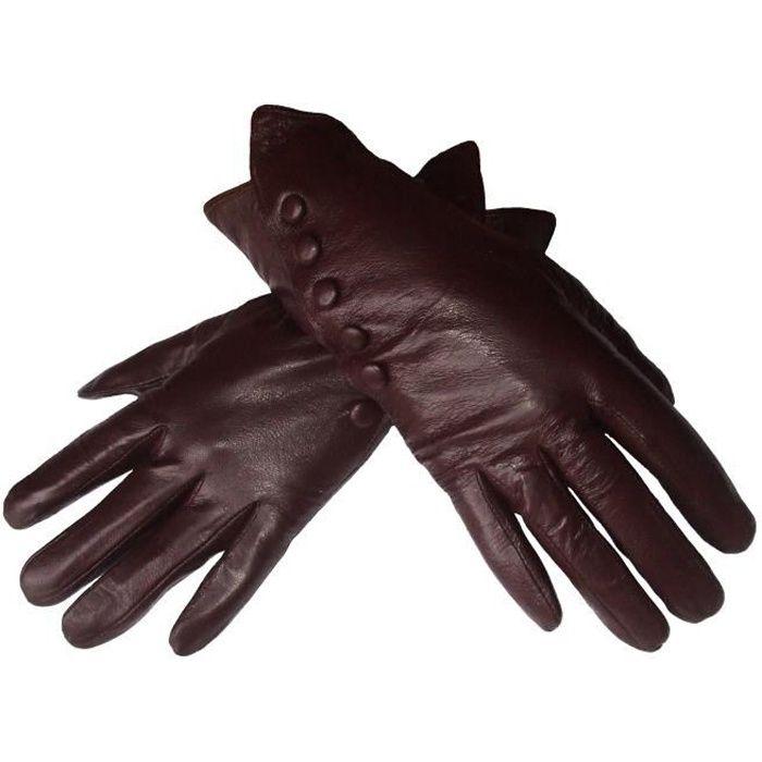 gants en cuir femme marron montants fourr s achat. Black Bedroom Furniture Sets. Home Design Ideas