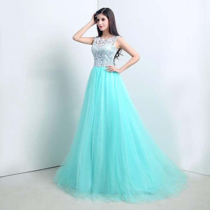 robe longue dentelle de c r monie soir e bal femme vert menthe achat vente robe de c r monie. Black Bedroom Furniture Sets. Home Design Ideas