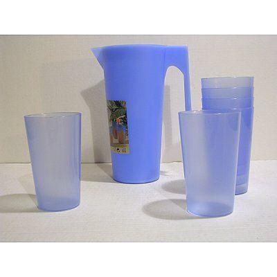 lot pichet 6 verres orangeade plastique couleur achat vente pichet carafe soldes d. Black Bedroom Furniture Sets. Home Design Ideas