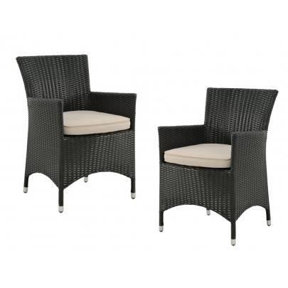 Lot de 2 fauteuils d 39 exterieur alanda r sine tre achat vente chaise - Fauteuil exterieur resine ...