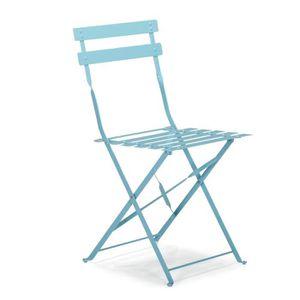 FAUTEUIL JARDIN  Pims Chaise de jardin pliante bleu lagon en acier