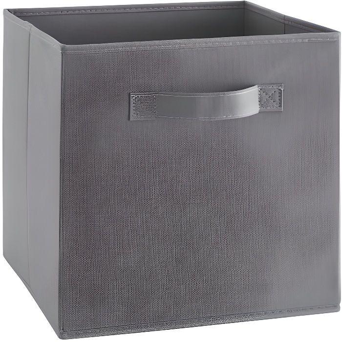 Compo tiroir de rangement en tissu marron 27x27x28 cm for Petit tiroir rangement
