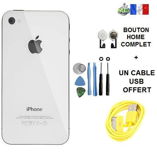 vitre arri re iphone 4 blanc cable usb chargeur jaune offert bouton home kit outil apple. Black Bedroom Furniture Sets. Home Design Ideas