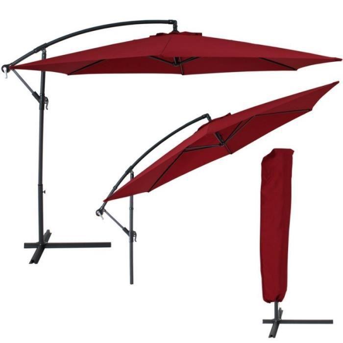 Parasol d port de 3 5 m bordeaux housse 2208002 achat vente parasol pa - Parasol deporte soldes ...