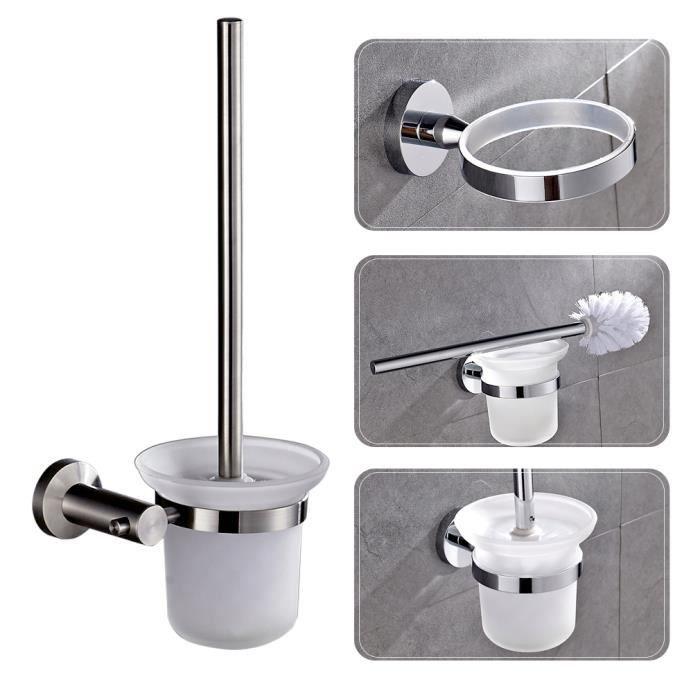 auralum brosse wc brosse de toilettes pour nettoyage avec porte de brosse mural laiton chrom. Black Bedroom Furniture Sets. Home Design Ideas