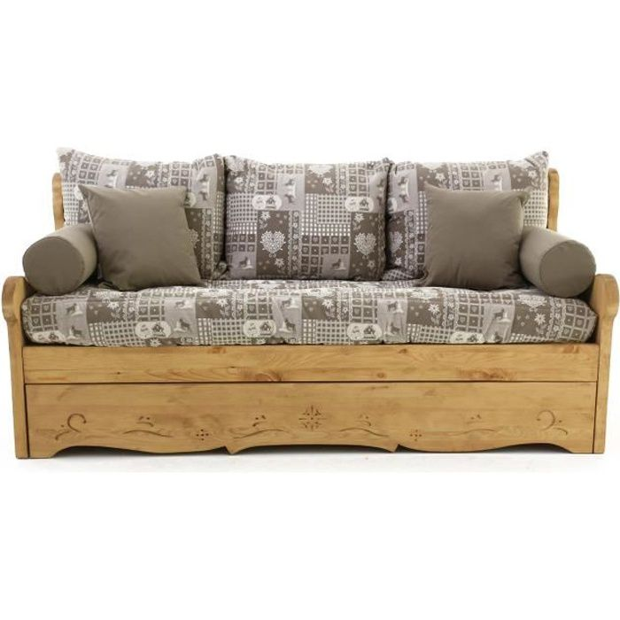 Canap convertible gigogne 3 places pin massif cervino taupe dahu achat v - Canape convertible gigogne ...