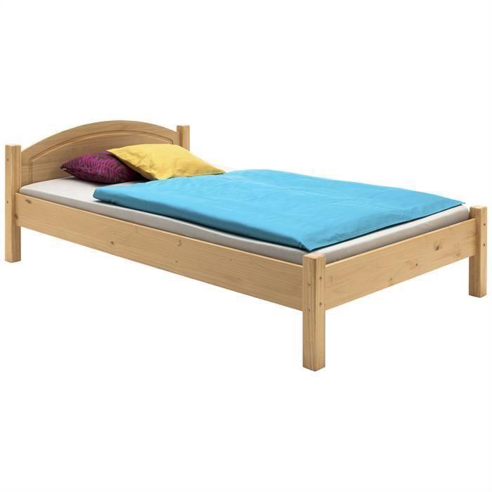 lit marie 100x200 cm lasur couleur h tre achat vente. Black Bedroom Furniture Sets. Home Design Ideas