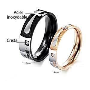 Bague anneau alliance ACIER, CRISTAL CROIX, noir, HOMME. Noir (6 mm ...
