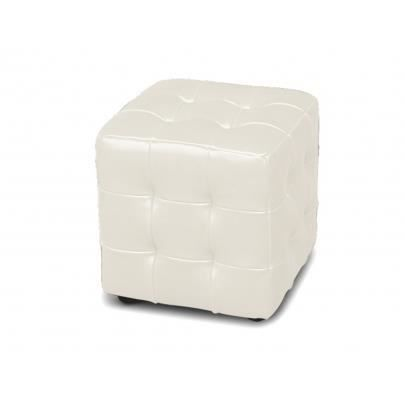 pouf elixir cuir blanc ivoire. Black Bedroom Furniture Sets. Home Design Ideas