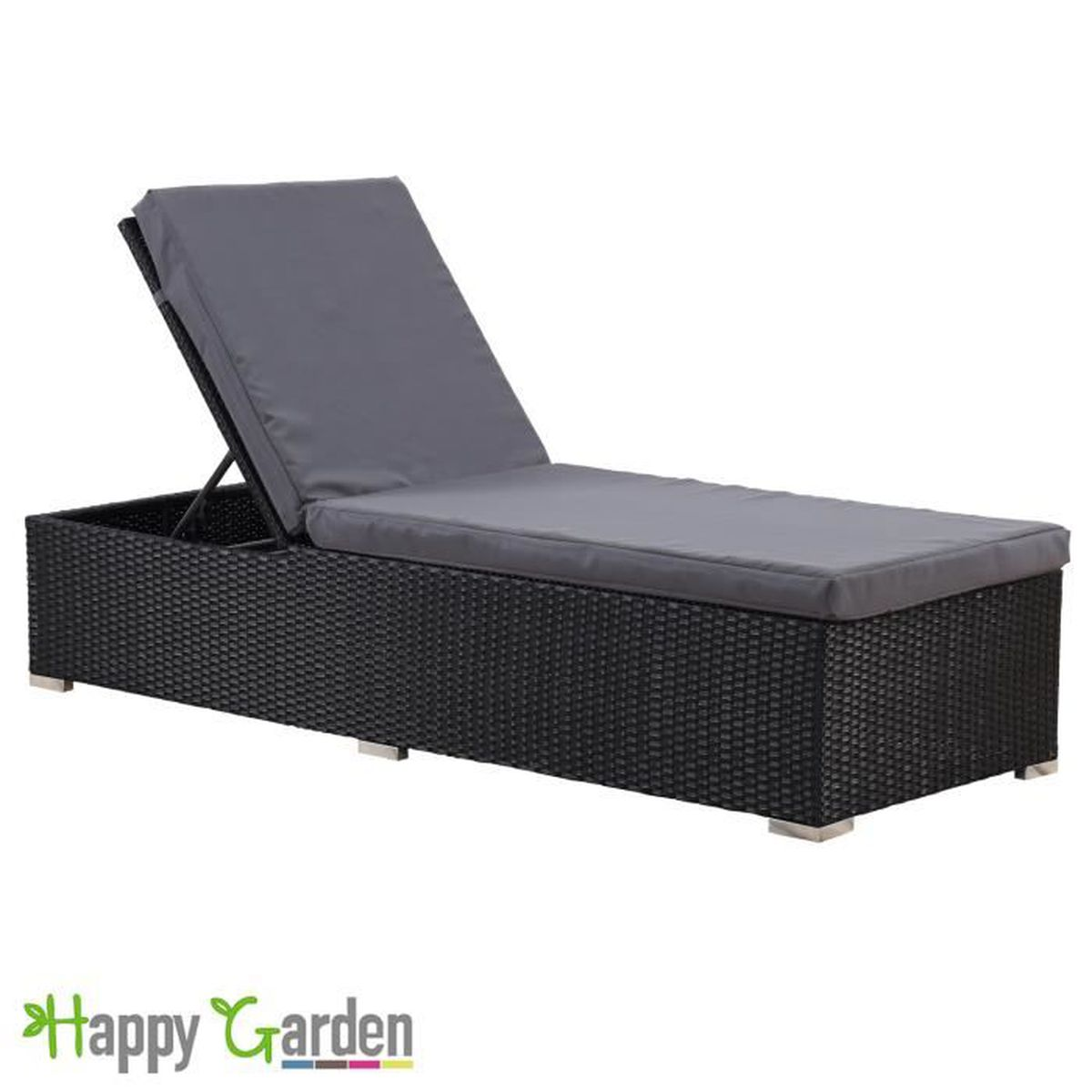 bain de soleil en r sine tress e noir coussin gris 2 noir achat vente chaise longue bain de. Black Bedroom Furniture Sets. Home Design Ideas