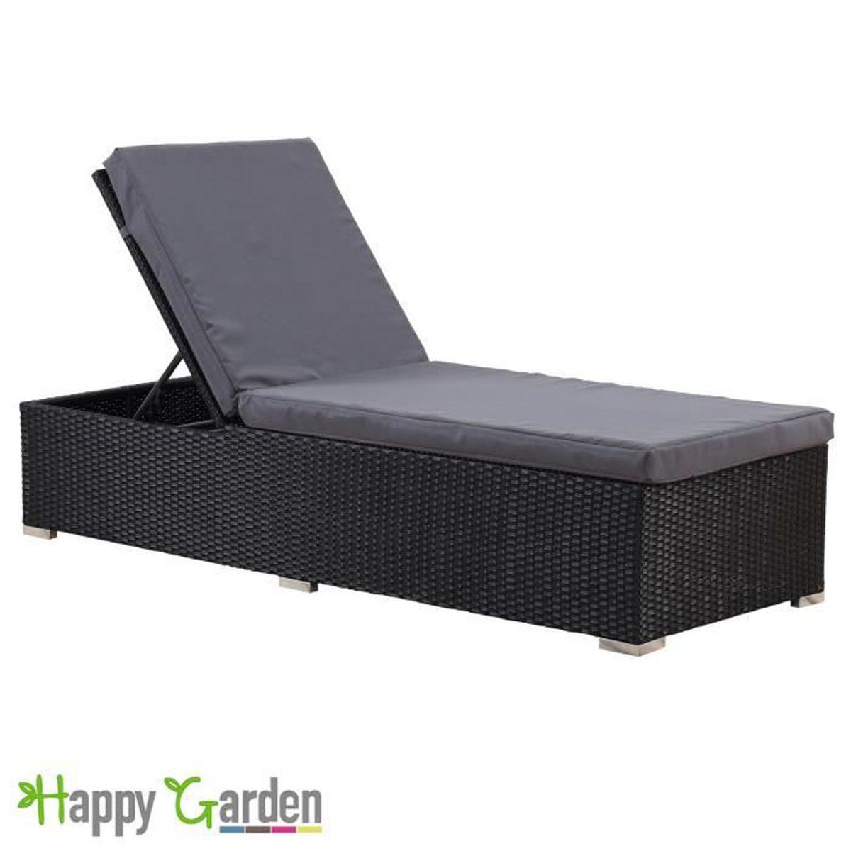bain de soleil en r sine tress e noir coussin gris 2 noir achat vente chaise longue bain de. Black Bedroom Furniture Sets. Home Design Ideas
