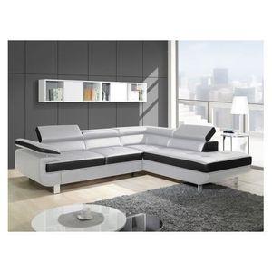 Canapé design d'angle studio - blanc et noir