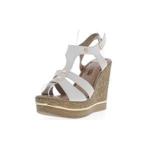 sandale nu pieds sandales compenses femme blanches talon de 12cm - Chaussures Compenses Blanches Mariage