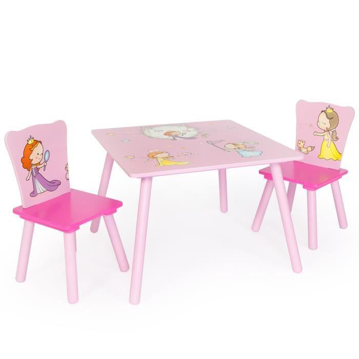 Table avec 2 chaises pour enfant motif princesse achat - Table enfant avec rangement ...