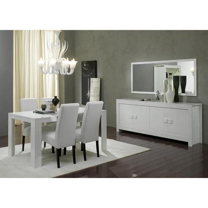 table repas blanche laqu e et ses chaises blanches et noires pisi table 190 cm et 6 chaises. Black Bedroom Furniture Sets. Home Design Ideas