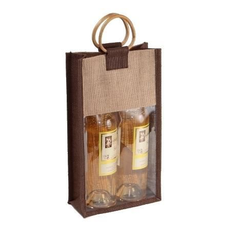 sac 2 bouteilles en toile de jute marron et naturel grande fen 234 tre pvc transparente poign 233 es