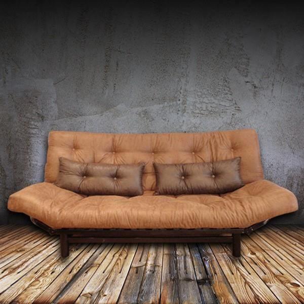 Convertible clic clac akuma vintage choco achat vente canap sofa div - Clic clac accoudoirs relevables ...