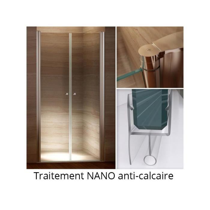 Porte de douche transparent 96 100cm lagueur r glable hauteur 185 cm nano anti calcaire verre Porte de douche 100 cm