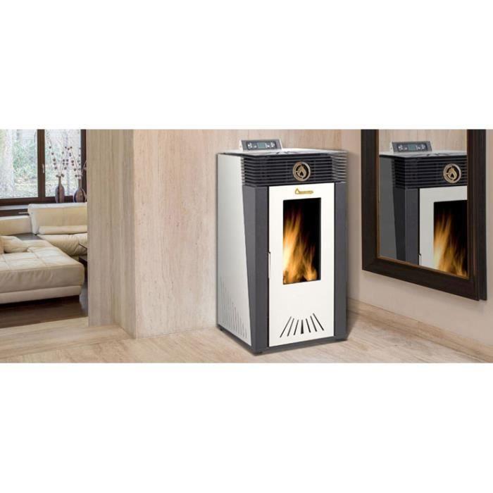 chauffage po le granul s emaflam alma blanc achat. Black Bedroom Furniture Sets. Home Design Ideas