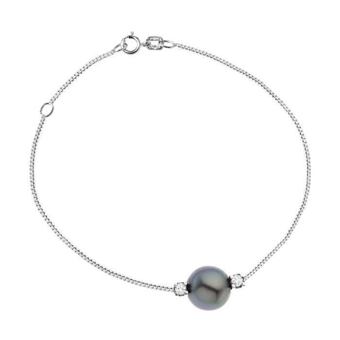 diamond lane bracelet argent 925 perle tahiti et diamants 0 1 cts femme argent achat vente. Black Bedroom Furniture Sets. Home Design Ideas