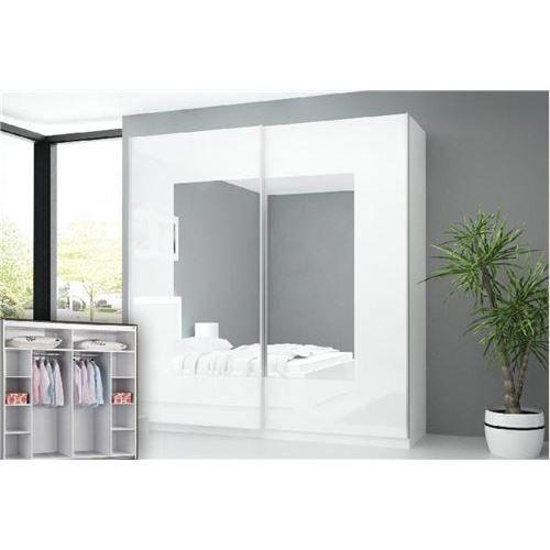 Armoire laqu e blanc nali 2 portes miroir achat for Armoire porte miroir