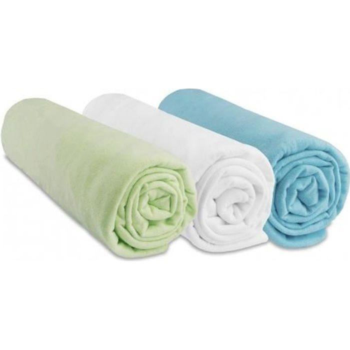 Lot de 3 draps housse jersey coton 70x140 gar on vert for Draps housse 70x140