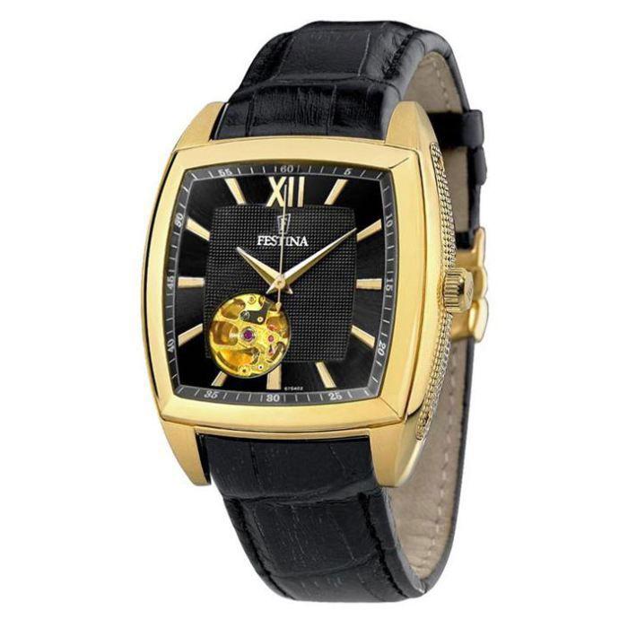 montre analogique festina f6754 achat vente montre homme adulte noir cuir cdiscount. Black Bedroom Furniture Sets. Home Design Ideas