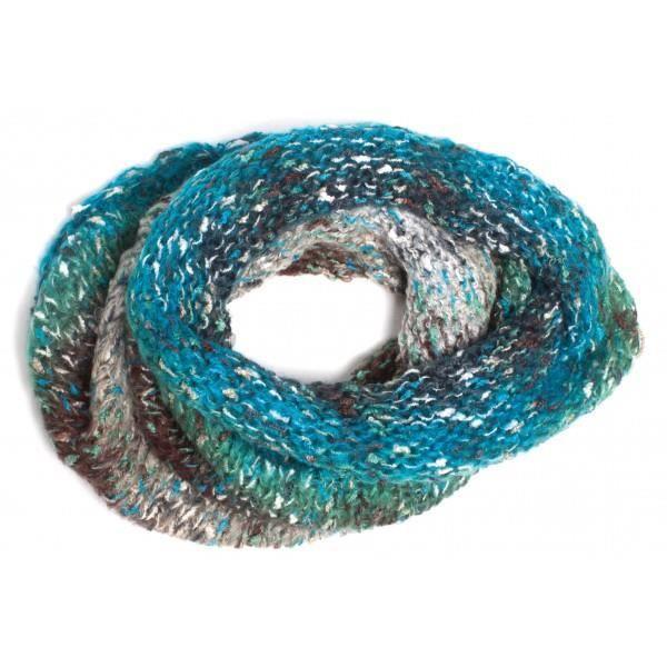 echarpe tour de cou snood femme bleu noir gris achat vente echarpe foulard cdiscount. Black Bedroom Furniture Sets. Home Design Ideas
