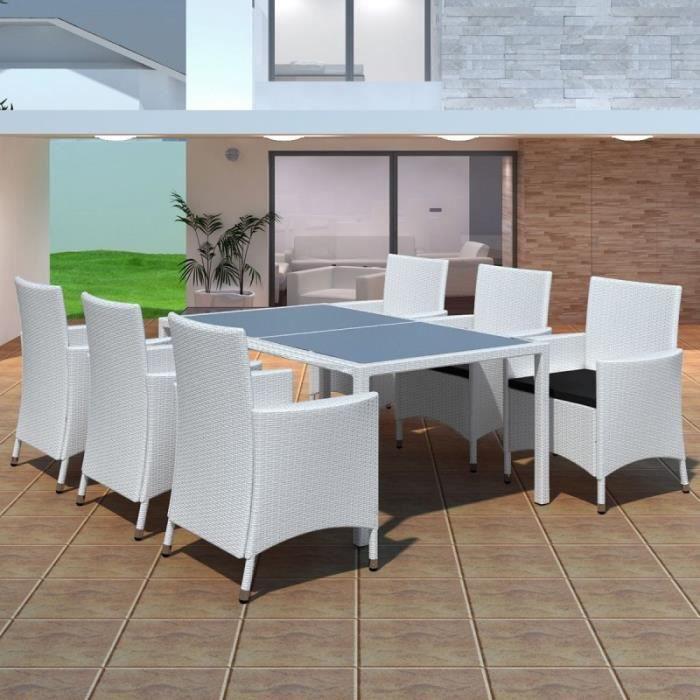 Salon de jardin blanc en r sine tress e 6 chaises et 1 for Table et chaise de jardin en resine tressee