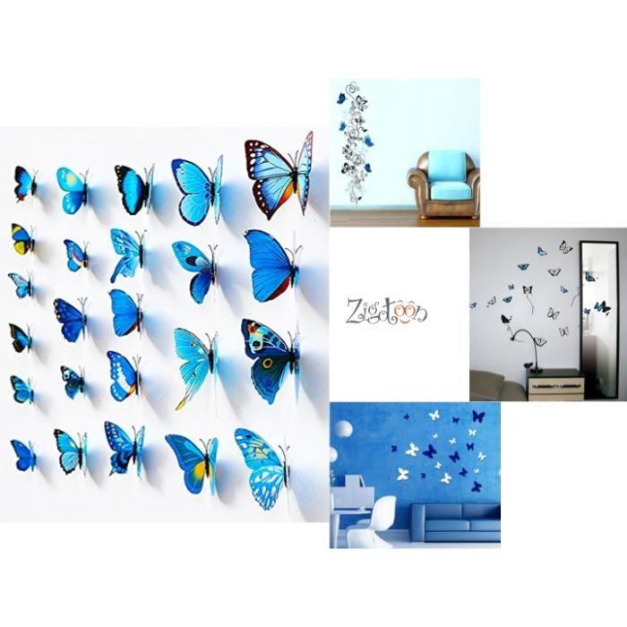 Stickers papillons 3d bleus d coration murale achat for Decoration murale oiseau 3d