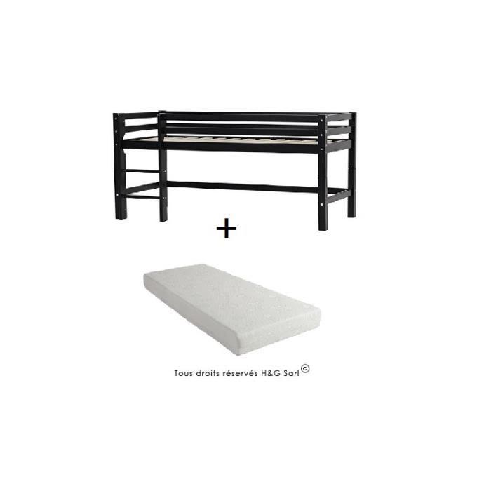 lit mi haut bas avec echelle noir avec matelas 90x200 achat vente structure de lit cdiscount. Black Bedroom Furniture Sets. Home Design Ideas