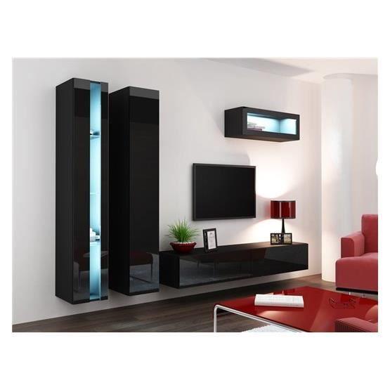 Ensemble meuble tv mural klarmo noir et blanc achat vente meuble tv meuble tv klarmo nr - Meuble tv mural cdiscount ...