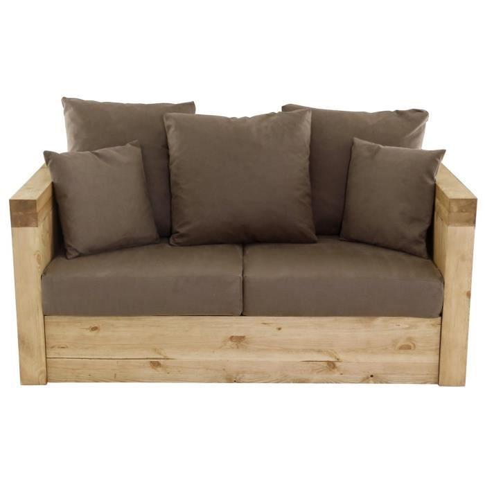 canap 2 places avec coffre pin massif et microfibre goku taupe colorado couleurs des alpes. Black Bedroom Furniture Sets. Home Design Ideas