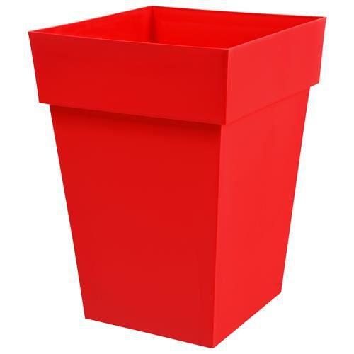 Pot rouge carr toscane haut 62 litres achat vente jardini re pot fleur pot rouge carr - Pot de fleur carre ...