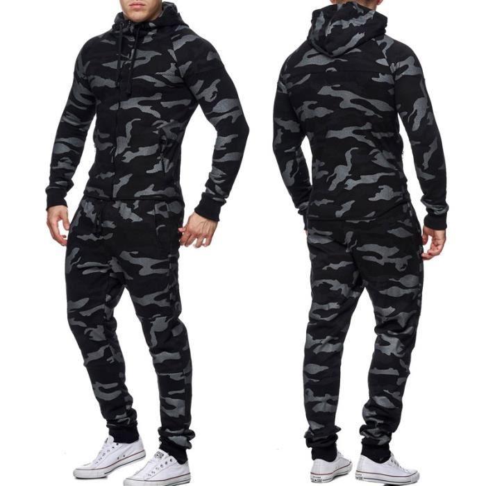 ensemble jogging homme veste et jogging 658 noir noir noir achat vente surv tement de sport. Black Bedroom Furniture Sets. Home Design Ideas