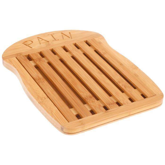 Planche d couper en bambou cuisine support ramasse miette inscription pain achat vente - Planche a decouper en bambou ...