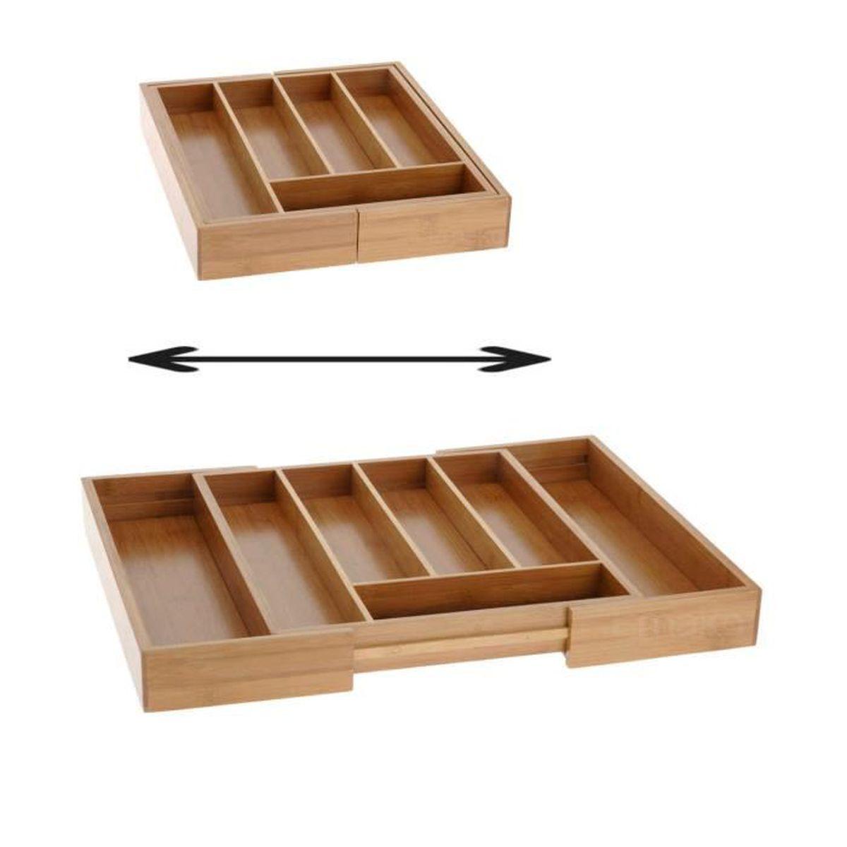 range couvert de cuisine en bois bambou extensible pour tous tiroir de cuisine achat vente. Black Bedroom Furniture Sets. Home Design Ideas