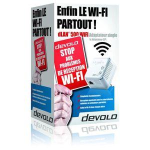 devolo 9077 dLAN 500 WiFi, Prise réseau CPL Wi-Fi 500 Mbit/s, 2 ports Fast Ethernet, Module complémentaire (x1)