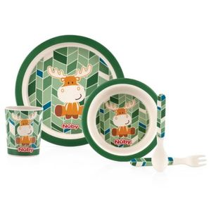 NUBY Set repas en BAMBOO, contient: 1 assiette, 1 bowl, 1 tasse, 1 fourchette et 1 cuill?re
