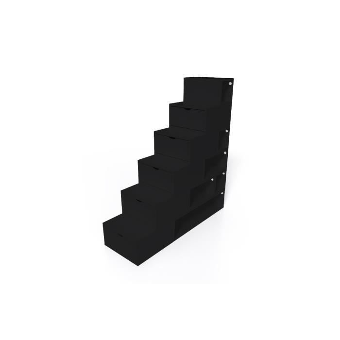 escalier cube de rangement hauteur 150 cm mdf noir achat vente meuble sous escalier. Black Bedroom Furniture Sets. Home Design Ideas