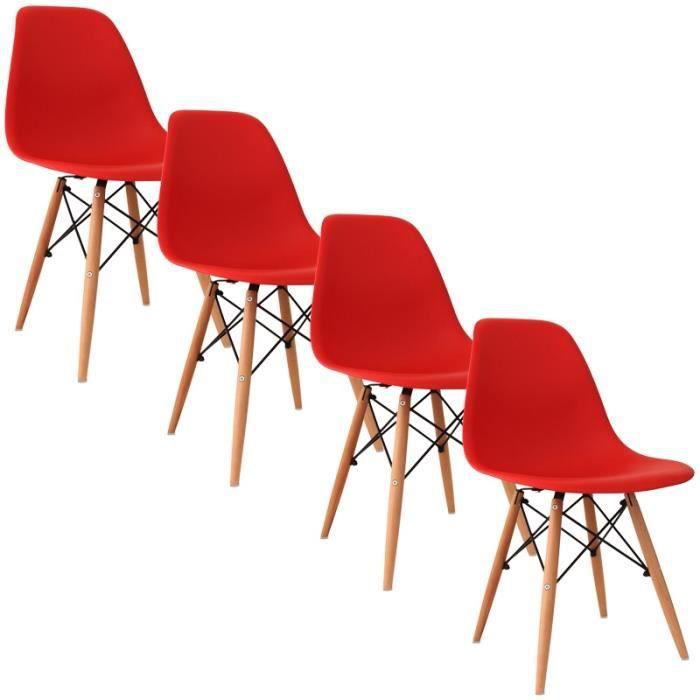 Chaise design rouge pieds en bois retro lot de 4 achat for Chaise bois rouge